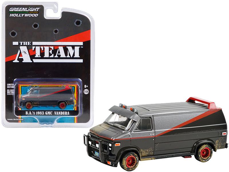 1983 GMC Vandura Van B.A. Black Silver Red Stripe Dirty Version The A-Team 1983 1987 TV Series Hollywood Special Edition 1/64 Diecast Model Car Greenlight 44865 F