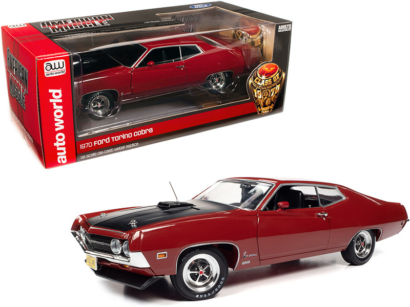1970 Ford Torino Cobra Red Black Hood Class of 1970 1/18 Diecast Model Car Autoworld AMM1234