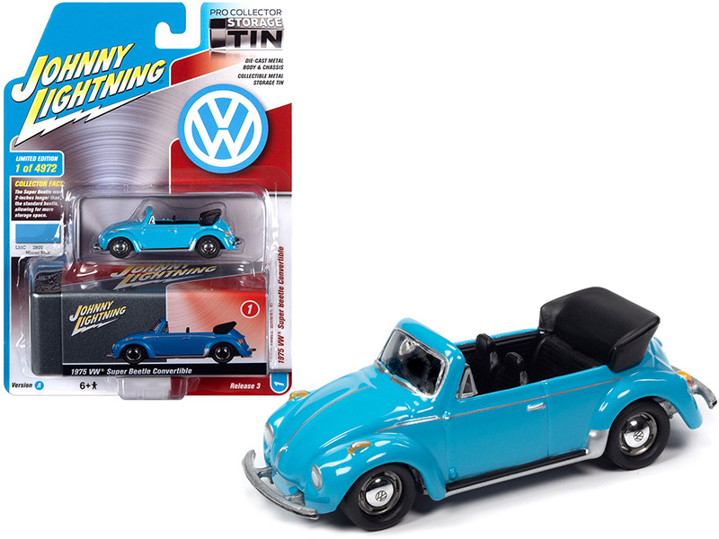 1975 Volkswagen Super Beetle Convertible Top Down Miami Blue Collector Tin Limited Edition 4972 pieces Worldwide 1/64 Diecast Model Car Johnny Lightning JLCT005 JLSP107 A