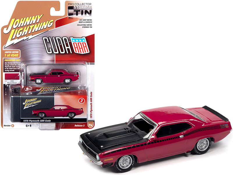 1970 Plymouth AAR Barracuda Moulin Rouge Red Black Stripes Hood Collector Tin Limited Edition 4540 pieces Worldwide 1/64 Diecast Model Car Johnny Lightning JLCT005 JLSP108 B