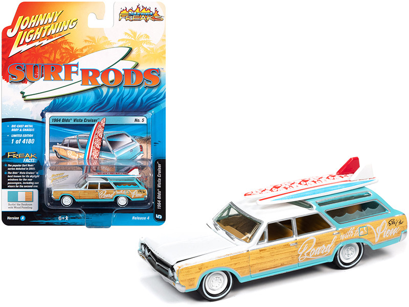 1964 Oldsmobile Vista Cruiser White Seafoam Green Wood Paneling Two Surfboards Surf Rods Limited Edition 4180 pieces Worldwide 1/64 Diecast Model Car Johnny Lightning JLSF018 JLSP110 A