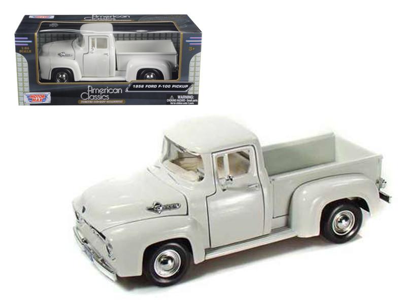 1956 Ford F-100 Pickup White 1/24 Diecast Car Model Motormax 73235