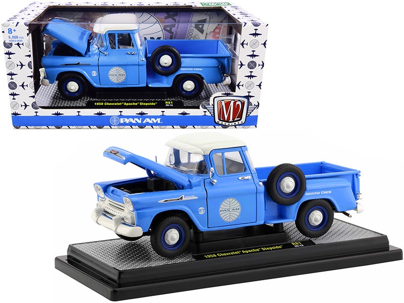 1958 Chevrolet Apache Stepside Pickup Truck Pan Am Ground Crew Light Blue White Top Limited Edition 6880 pieces Worldwide 1/24 Diecast Model Car M2 Machines 40300-81 B