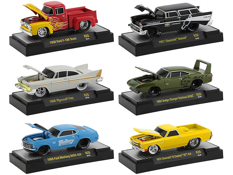 Ground Pounders 6 Cars Set Release 20 DISPLAY CASES 1/64 Diecast Model Cars M2 Machines 82161-20