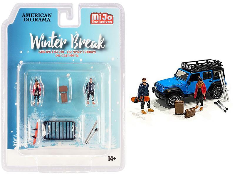 Winter Break Diecast Set 6 pieces 2 Figurines 4 Accessories 1/64 Scale Models American Diorama 76462