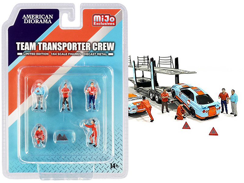 Team Transporter Crew Diecast Set 6 pieces 5 Figurines 2 Warning Triangles 1/64 Scale Models American Diorama 76463