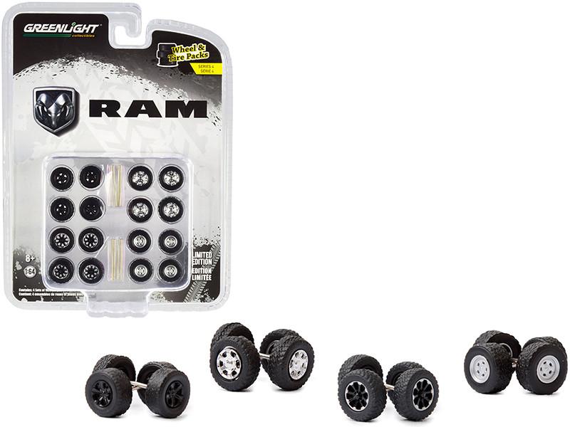 RAM Trucks Wheels Tires Multipack Set 24 pieces Wheel & Tire Packs Series 4 1/64 Greenlight 16070 C