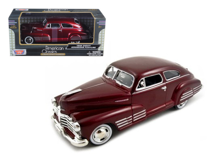 1948 Chevy Aerosedan Fleetline Metallic Dark Red 1/24 Diecast Model Car Motormax 73266