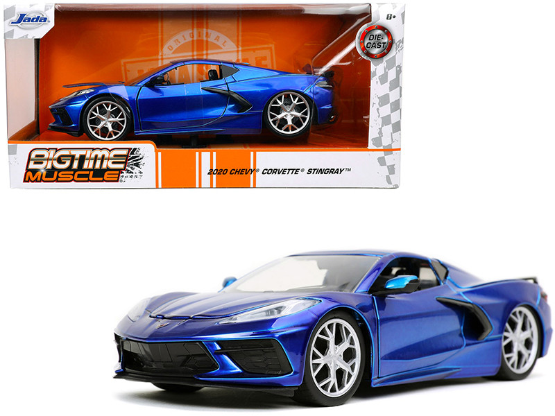 2020 Chevrolet Corvette Stingray C8 Candy Blue Bigtime Muscle 1/24 Diecast Model Car Jada 32537