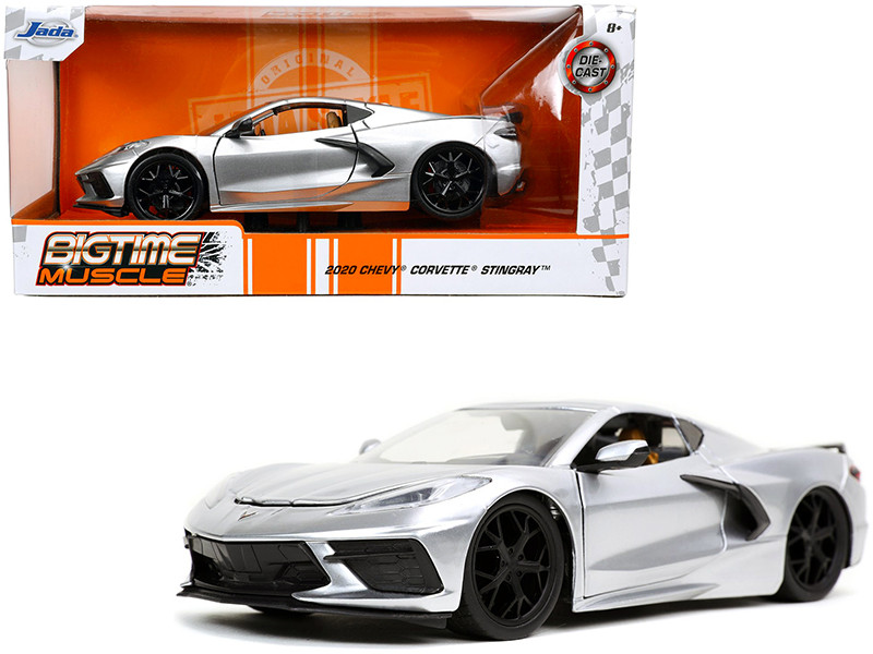 2020 Chevrolet Corvette Stingray C8 Candy Silver Bigtime Muscle 1/24 Diecast Model Car Jada 32539