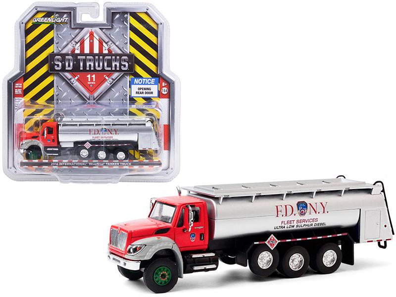 2018 International WorkStar Tanker Truck FDNY Official Fire Department City of New York Red Silver SD Trucks Series 11 1/64 Diecast Model Greenlight 45110 A