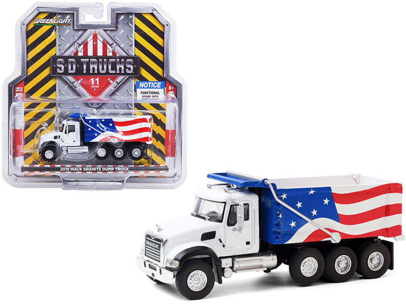 2019 Mack Granite Dump Truck White American Flag Graphics SD Trucks Series 11 1/64 Diecast Model Greenlight 45110 C