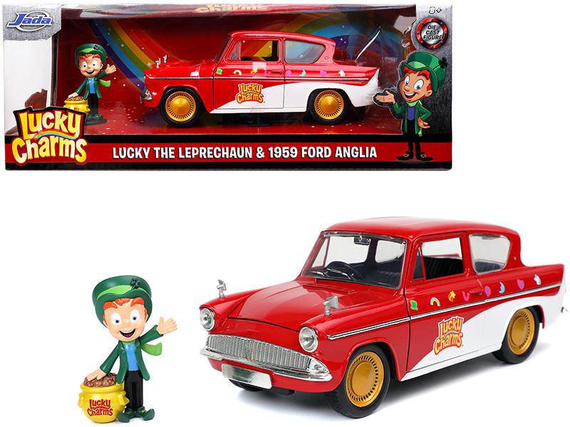 1959 Ford Anglia Red White Lucky the Leprechaun Diecast Figurine Lucky Charms 1/24 Diecast Model Car Jada 32200