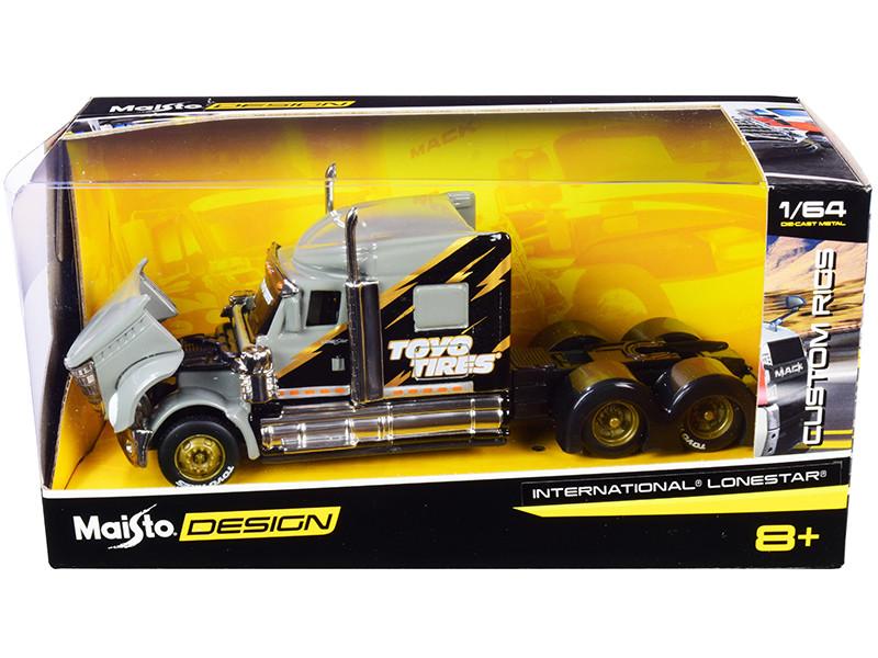 International LoneStar Truck Tractor Toyo Tires Gray Black Custom Rigs 1/64 Diecast Model Maisto 12389