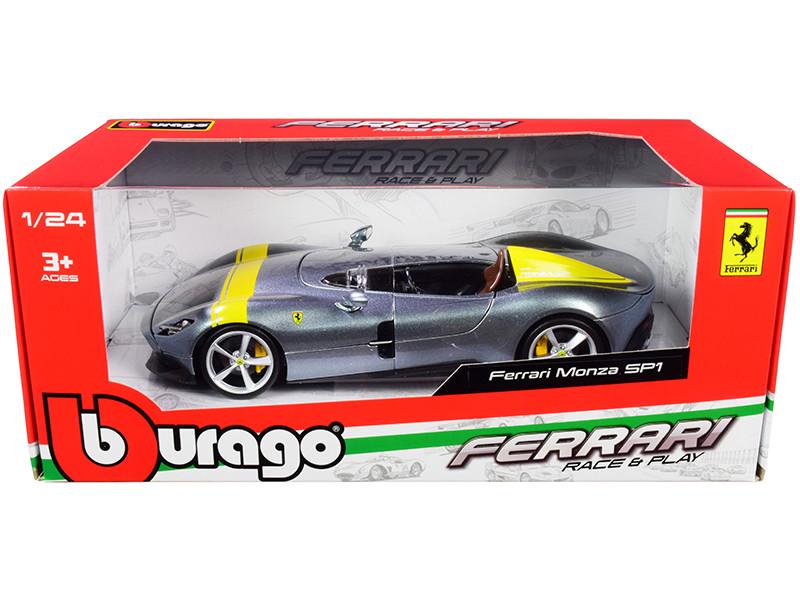 Ferrari Monza SP1 Silver Metallic Yellow Stripes 1/24 Diecast Model Car Bburago 26027