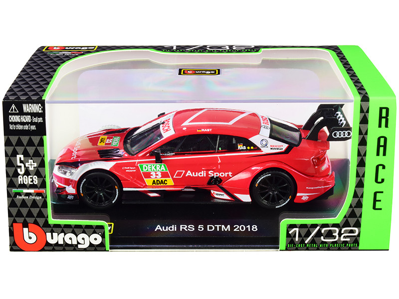 Audi RS 5 #33 Rene Rast DTM Deutsche Tourenwagen Masters 2018 Race Car Series 1/32 Diecast Model Car Bburago 41150