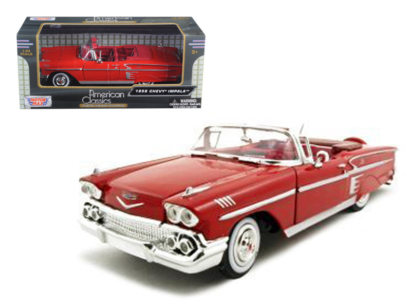 1958 Chevrolet Impala Red 1/24 Diecast Car Model Motormax 73267