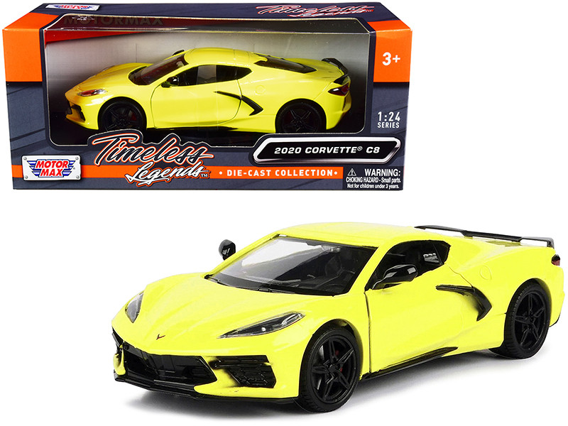 2020 Chevrolet Corvette C8 Stingray Yellow Timeless Legends 1/24 Diecast Model Car Motormax 79360