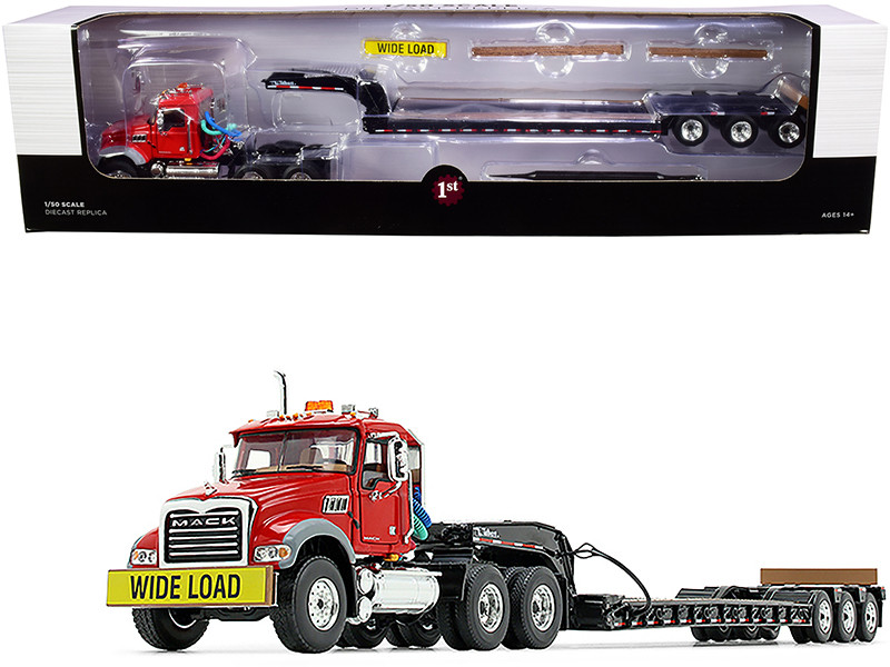 Mack Granite MP Tandem-Axle Day Cab Talbert Tri-Axle Lowboy Trailer Red Black 1/50 Diecast Model First Gear 50-3117