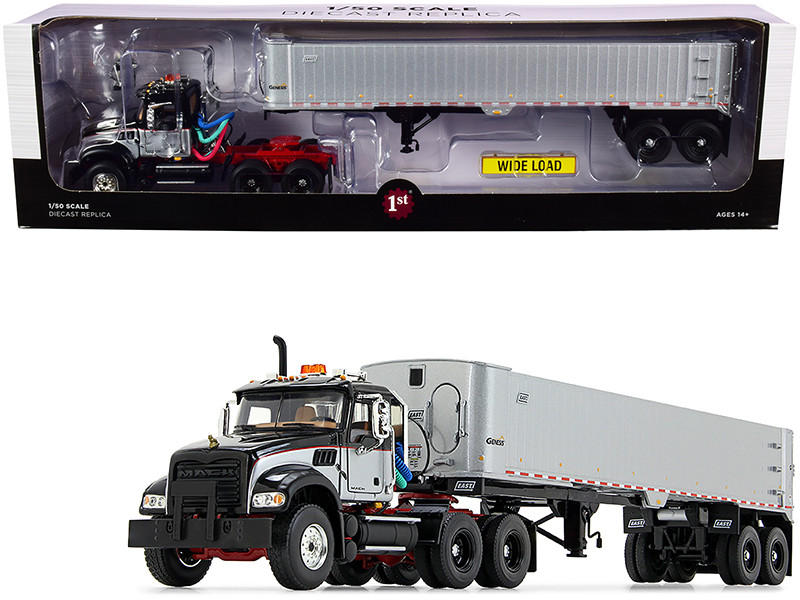Mack Granite MP Tandem-Axle Day Cab East Genesis End Dump Trailer Black Silver 1/50 Diecast Model First Gear 50-3456