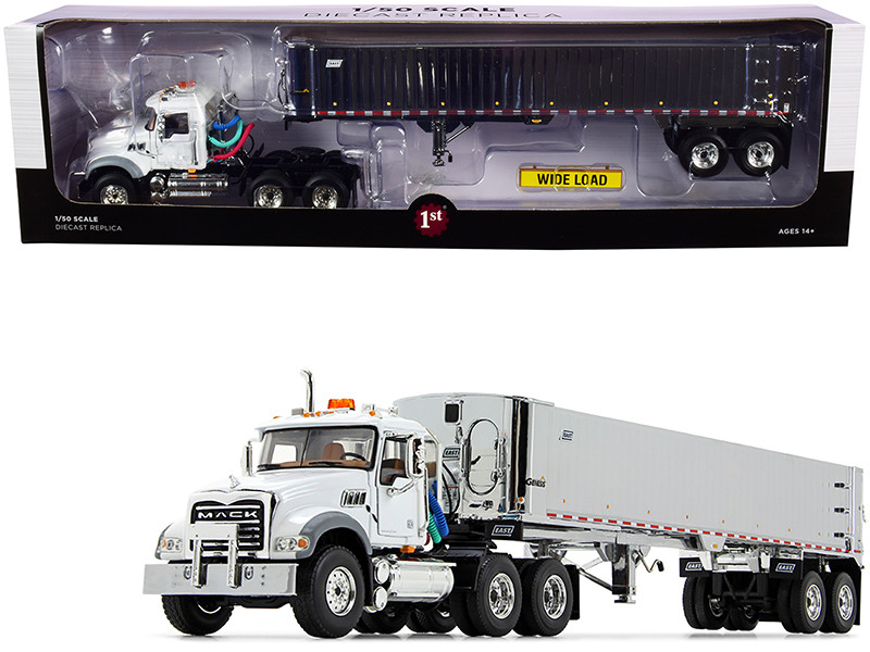 Mack Granite MP Tandem-Axle Day Cab East Genesis End Dump Trailer White Chrome 1/50 Diecast Model First Gear 50-3457
