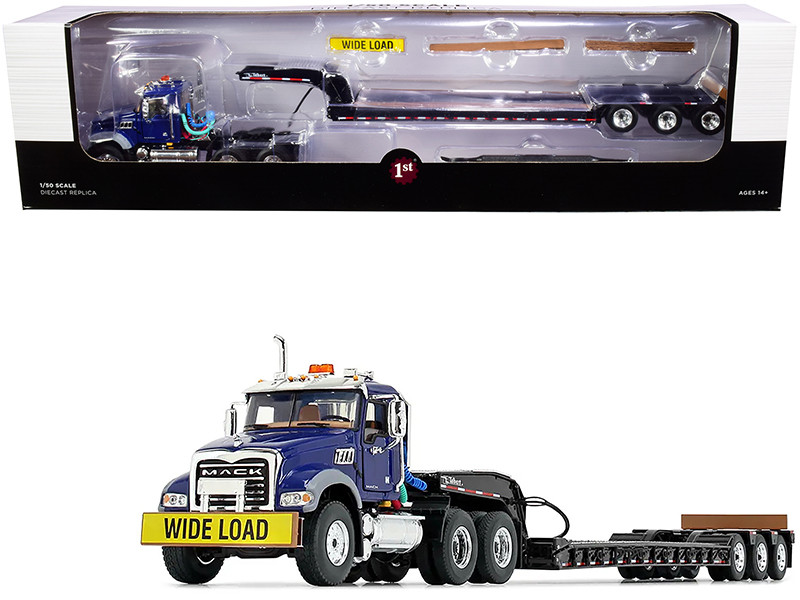 Mack Granite MP Tandem-Axle Day Cab Talbert Tri-Axle Lowboy Trailer Mack Blue Black 1/50 Diecast Model First Gear 50-3458
