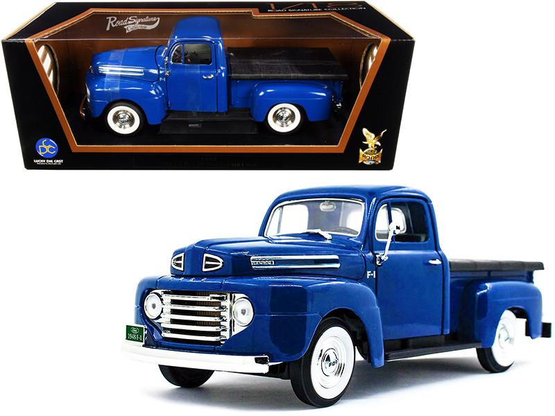 1948 Ford F-1 Pickup Truck Bed Cover Dark Blue 1/18 Diecast Model Car Road Signature 92218