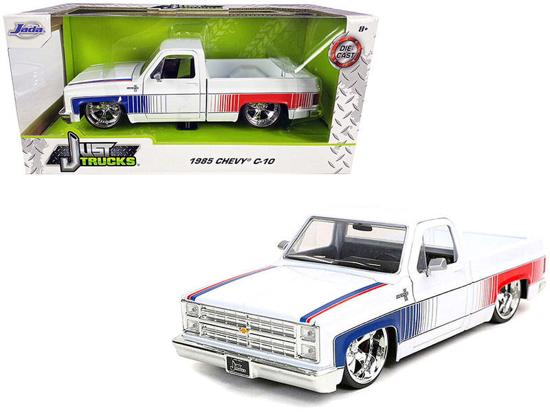 1985 Chevrolet Silverado C-10 Pickup Truck Custom Cartelli Wheels White Blue Red Graphics Just Trucks 1/24 Diecast Model Car Jada 32683
