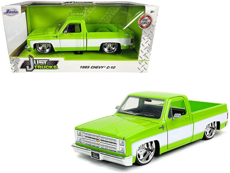 1985 Chevrolet Silverado C-10 Pickup Truck Custom Sugar C Wheels Bright Green White Sides Just Trucks 1/24 Diecast Model Car Jada 32686