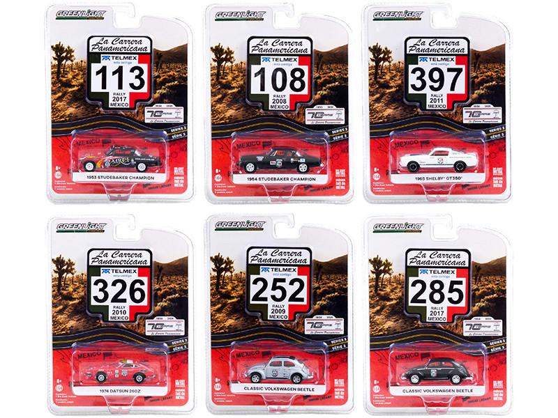 La Carrera Panamericana 70 Years Anniversary 1950 2020 Set 6 pieces Series 3 1/64 Diecast Model Cars Greenlight 13280