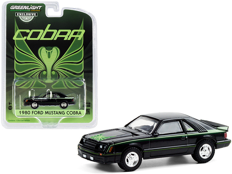 1980 Ford Mustang Cobra Black Green Cobra Hood Graphics Stripe Treatment Hobby Exclusive 1/64 Diecast Model Car Greenlight 30228