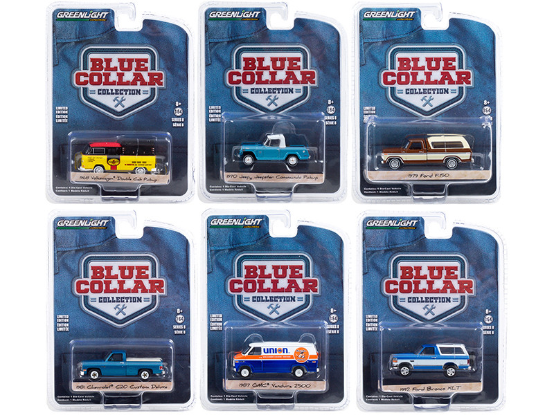Blue Collar Collection Set 6 pieces Series 8 1/64 Diecast Model Cars Greenlight 35180