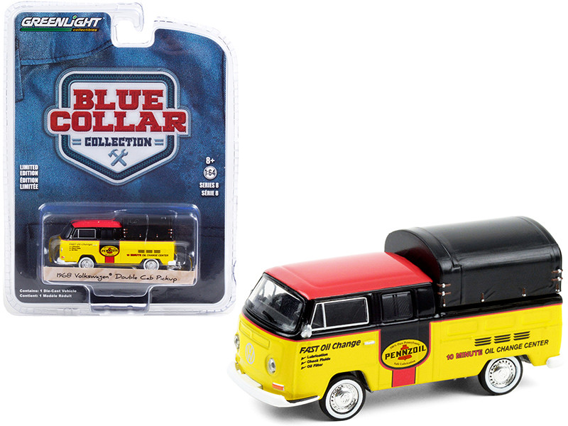 1968 Volkswagen Doka Double Cab Pickup Truck Canopy Pennzoil Oil Yellow Black Red Top Blue Collar Collection Series 8 1/64 Diecast Model Car Greenlight 35180 A