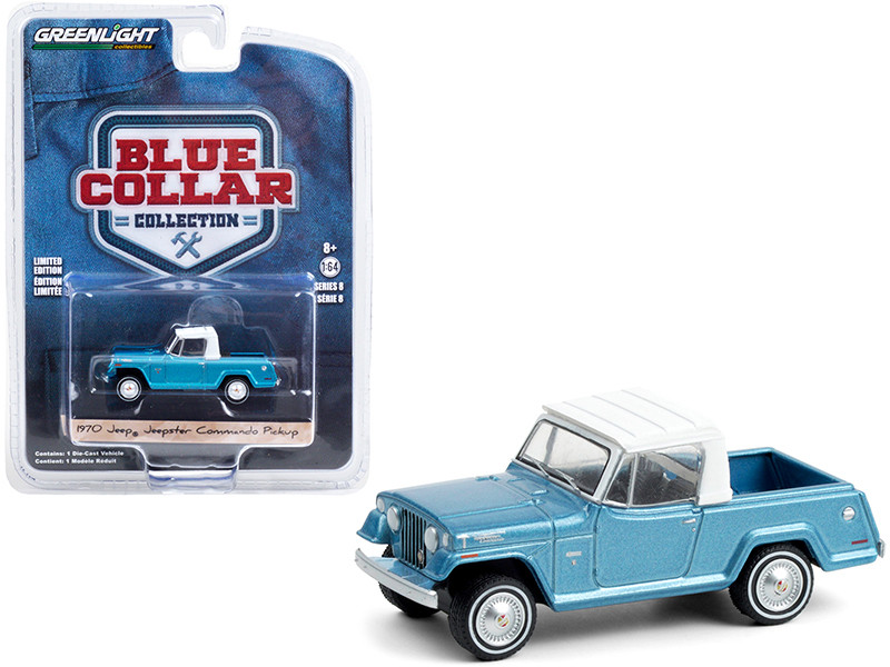 1970 Jeep Jeepster Commando Pickup Truck Light Blue Metallic White Top Blue Collar Collection Series 8 1/64 Diecast Model Car Greenlight 35180 B