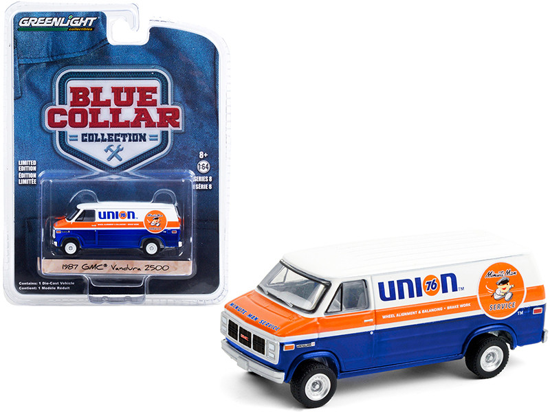 1987 GMC Vandura 2500 Van Union 76 Minute Man Service Blue White Orange Stripe Blue Collar Collection Series 8 1/64 Diecast Model Car Greenlight 35180 E