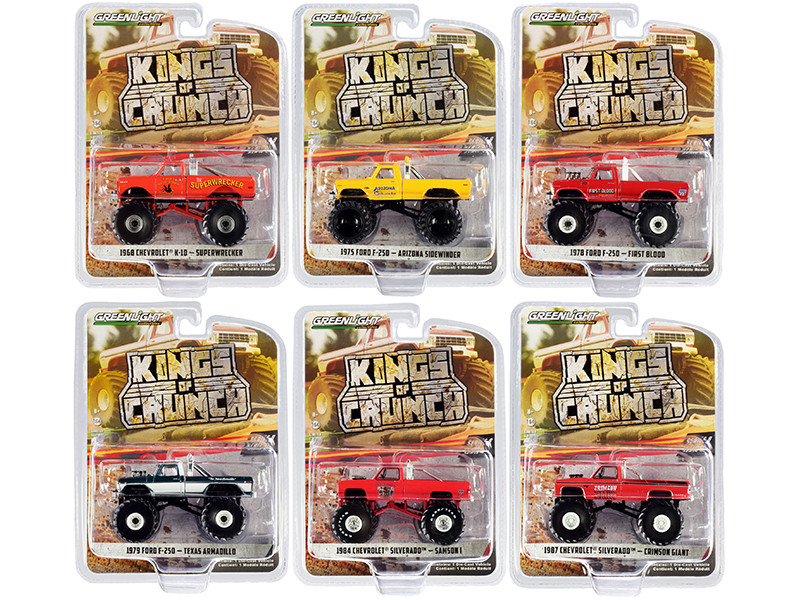 Kings of Crunch Set 6 Monster Trucks Series 8 1/64 Diecast Model Cars Greenlight 49080