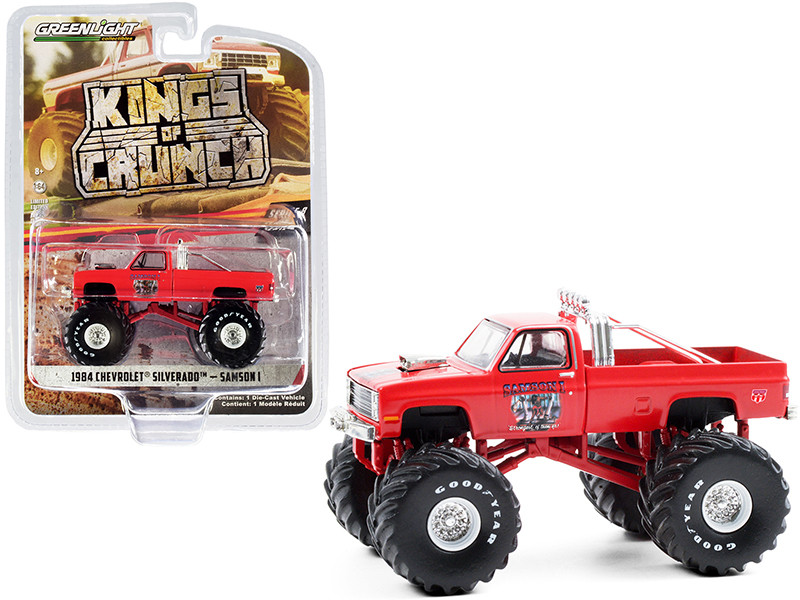 1984 Chevrolet Silverado Monster Truck Samson I Red Kings of Crunch Series 8 1/64 Diecast Model Car Greenlight 49080 E