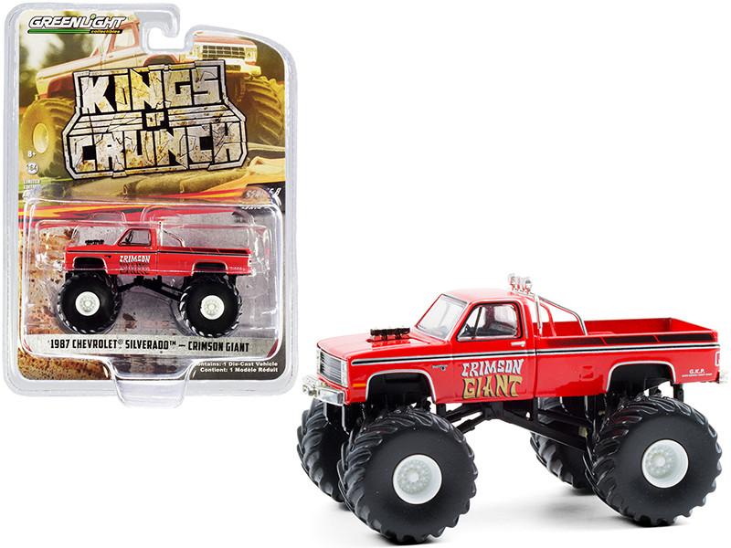 1987 Chevrolet Silverado Monster Truck Crimson Giant Red Kings of Crunch Series 8 1/64 Diecast Model Car Greenlight 49080 F