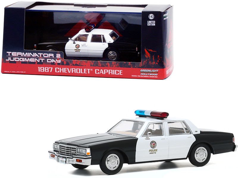1987 Chevrolet Caprice Metropolitan Police Black White Terminator 2 Judgment Day 1991 Movie 1/43 Diecast Model Car Greenlight 86582