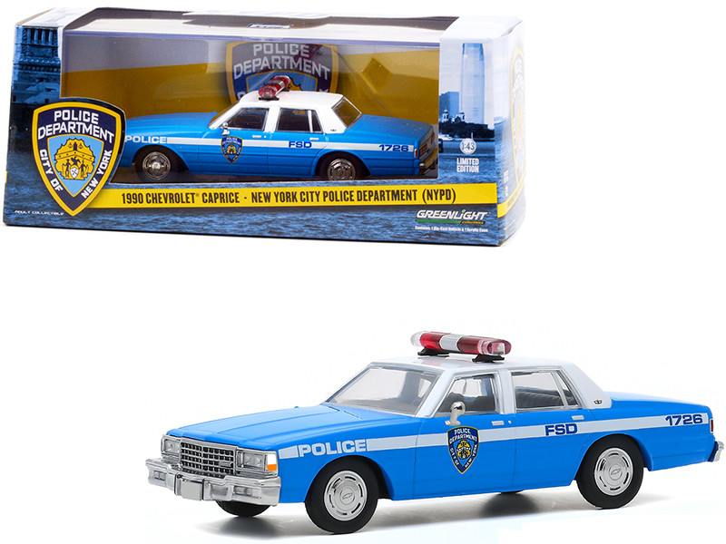1990 Chevrolet Caprice New York City Police Dept NYPD Light Blue White Top 1/43 Diecast Model Car Greenlight 86583