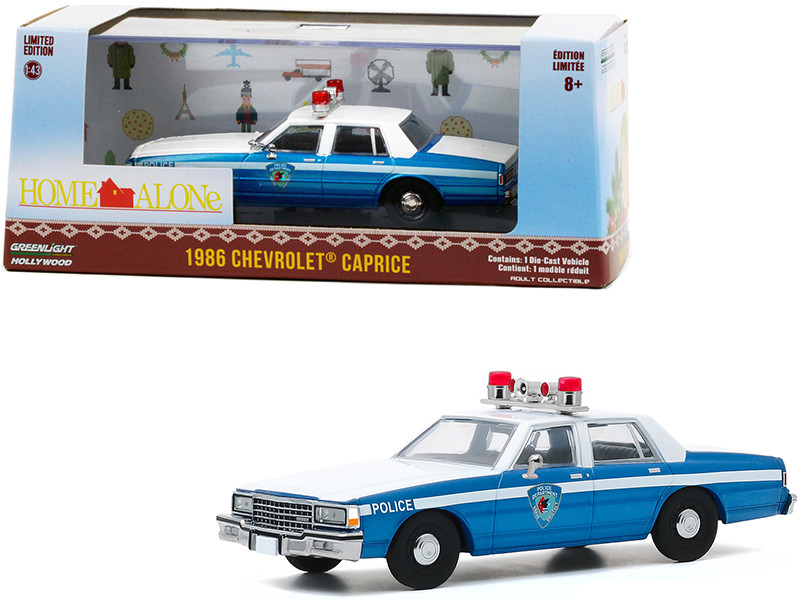 1986 Chevrolet Caprice Blue White Police Car Home Alone 1990 Movie 1/43 Diecast Model Car Greenlight 86585