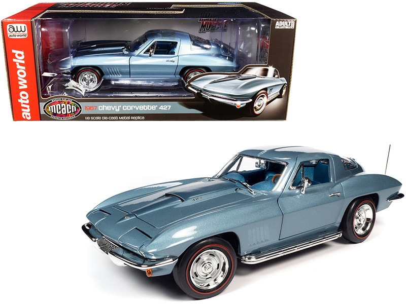 1967 Chevrolet Corvette 427 Hardtop Elkhart Blue Metallic Blue Interior Muscle Car & Corvette Nationals MCACN 1/18 Diecast Model Car Autoworld AMM1241