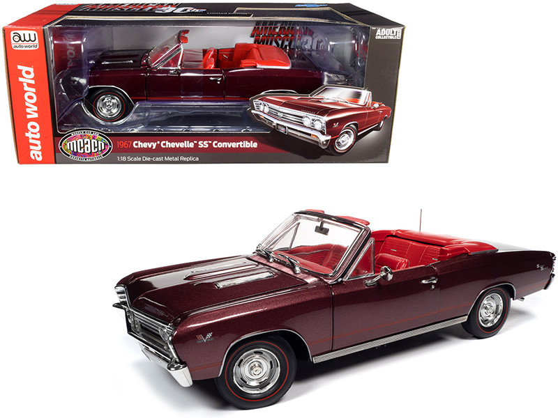 1967 Chevrolet Chevelle SS 396 Convertible Madiera Maroon Metallic Red Interior Muscle Car & Corvette Nationals MCACN 1/18 Diecast Model Car Autoworld AMM1244