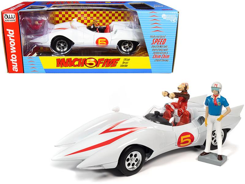 Mach 5 Five White Chim-Chim Monkey Speed Racer Figurines 1/18 Diecast Model Car Autoworld AWSS124
