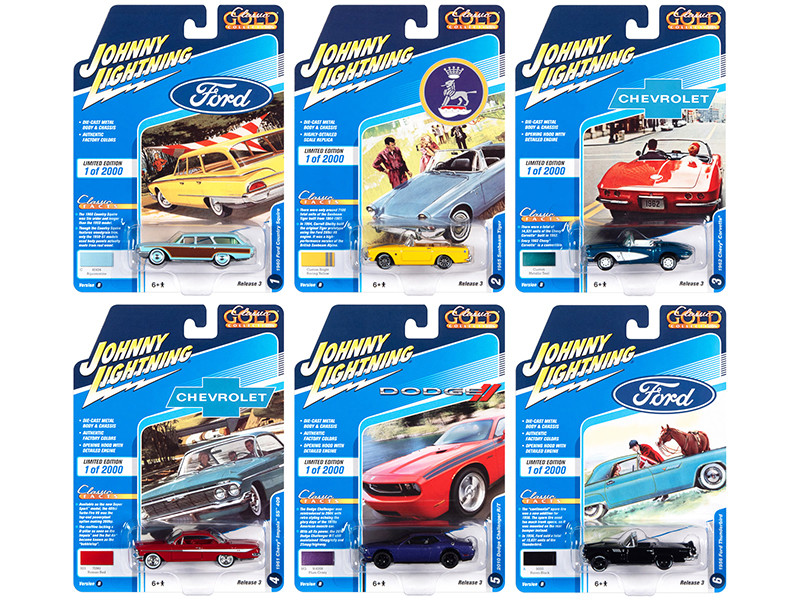 Classic Gold Collection 2020 Set B 6 Cars Release 3 Limited Edition 2000 pieces Worldwide 1/64 Diecast Model Cars Johnny Lightning JLCG023 B