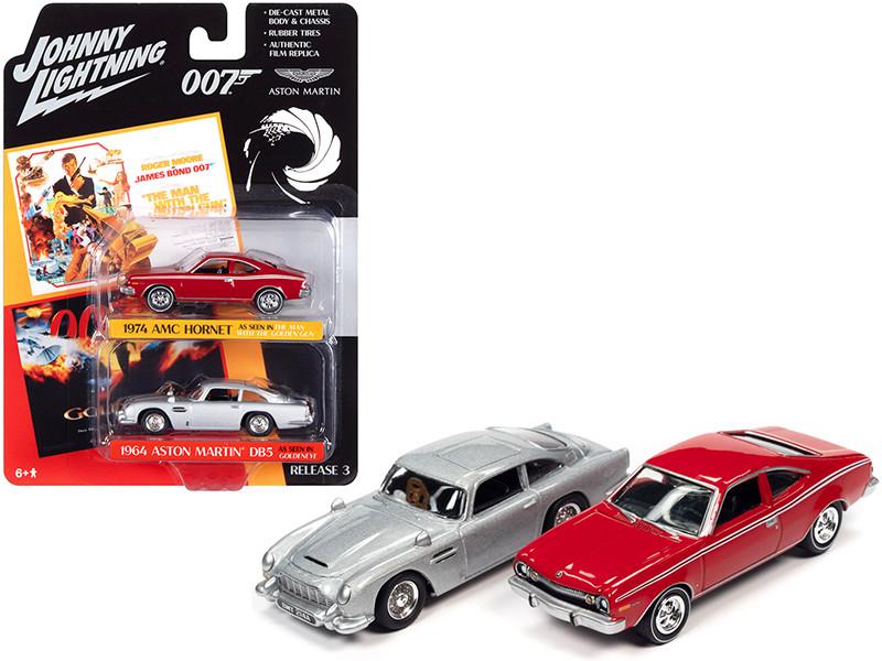 1974 AMC Hornet Red 1964 Aston Martin DB5 RHD Silver James Bond 007 Set of 2 Cars 1/64 Diecast Model Cars Johnny Lightning JLPK011
