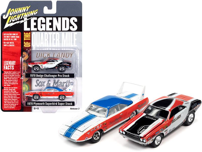 1970 Dodge Challenger Dick Landy 1970 Plymouth Superbird Sox & Martin Legends of the Quarter Mile Set of 2 Cars 1/64 Diecast Model Cars Johnny Lightning JLPK011
