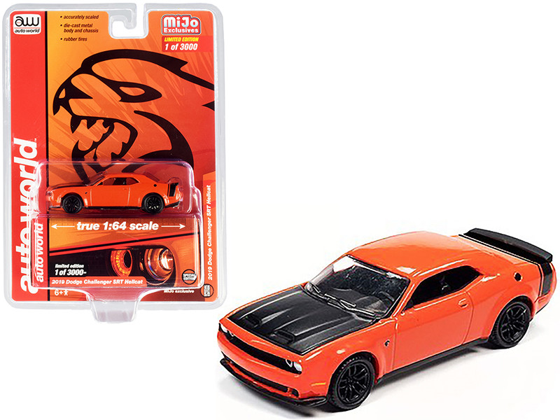 2019 Dodge Challenger SRT Hellcat Orange Black Hood Tail Stripe Limited Edition 3000 pieces Worldwide 1/64 Diecast Model Car Autoworld CP7721