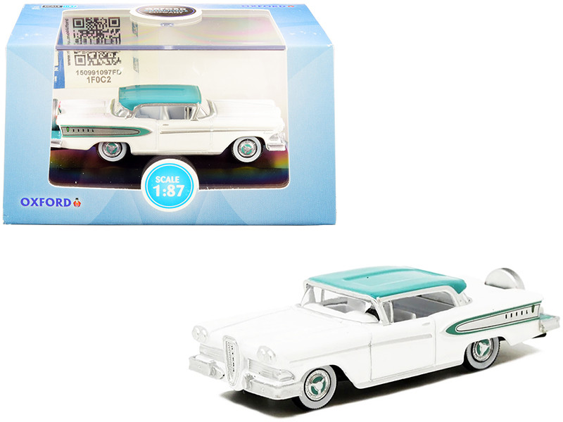 1958 Edsel Citation Snow White Turquoise 1/87 HO Scale Diecast Model Car Oxford Diecast 87ED58007