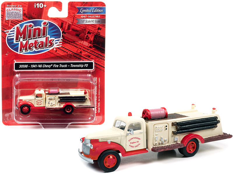 1941 1946 Chevrolet Fire Truck Township Fire Department Cream Red 1/87 HO Scale Model Classic Metal Works 30598